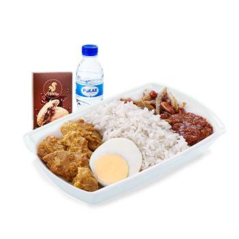 Nasi Lemak with Chicken Rendang